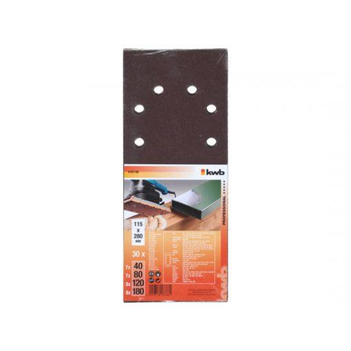 KWB 818788 rezgőcsiszoló papír 115x280mm vegyes szemcsés 30db